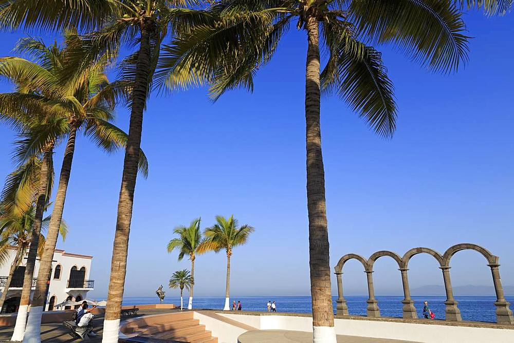 Arches on the Malecon, Puerto Vallarta, Jalisco State, Mexico, North America