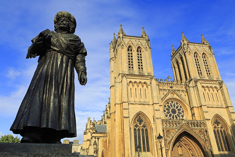Rajah Rammohun Roy and Bristol Cathedral, Bristol, England, United Kingdom, Europe - 776-5417