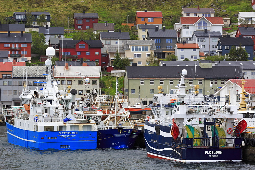 Fishing boats, Honningsvag Town,Mageroya Island, Finnmark County, Norway - 776-5428