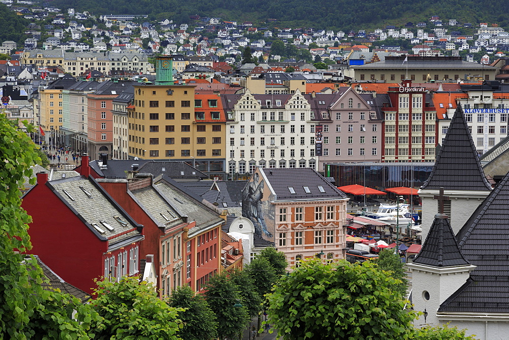 Old wooden houses, Bergen City, Hordaland County, Norway, Scandinavia, Europe
