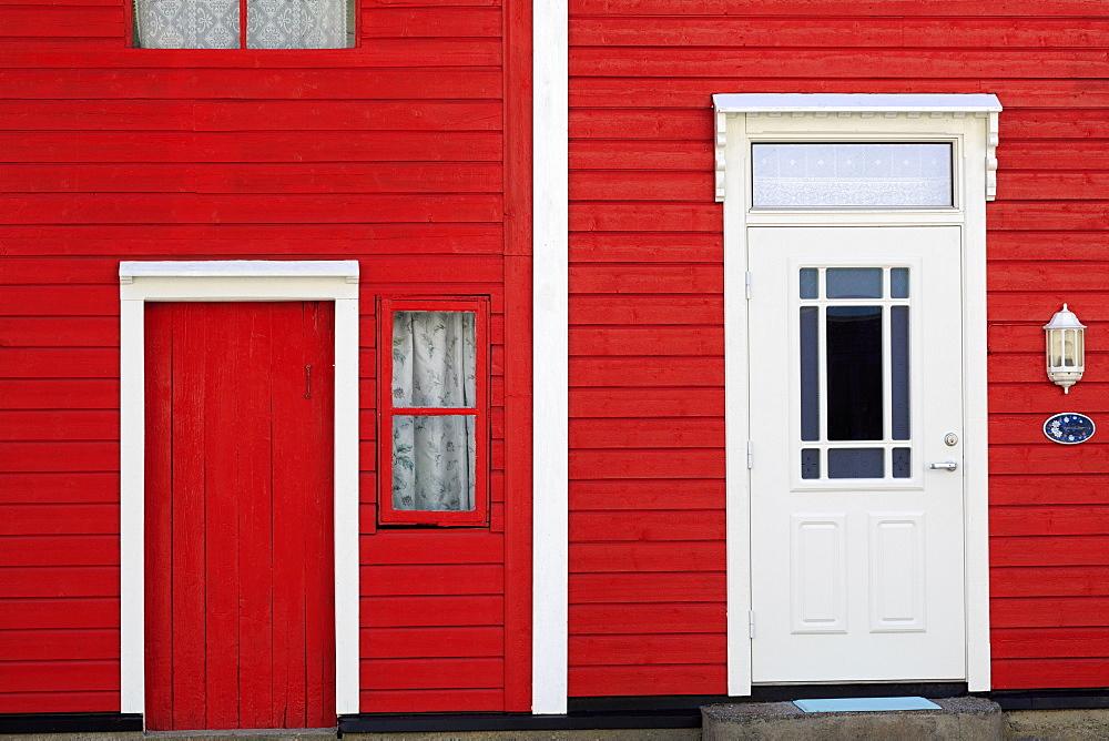 Narrow red house, Hellesylt Village, More og Romsdal County, Norway, Scandinavia, Europe