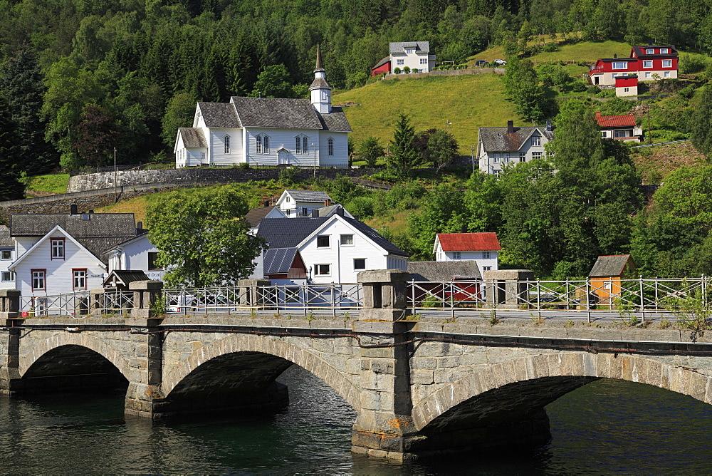 Bridge, Hellesylt Village, More og Romsdal County, Norway, Scandinavia, Europe