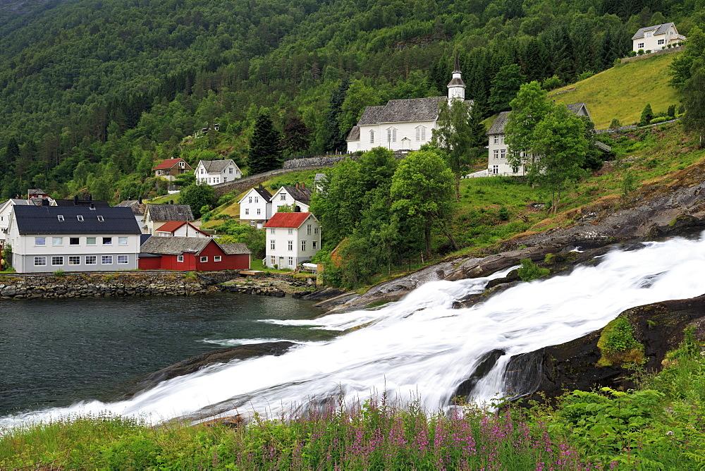 Hellesyltfossen Waterfall, Hellesylt Village, More og Romsdal County, Norway, Scandinavia, Europe