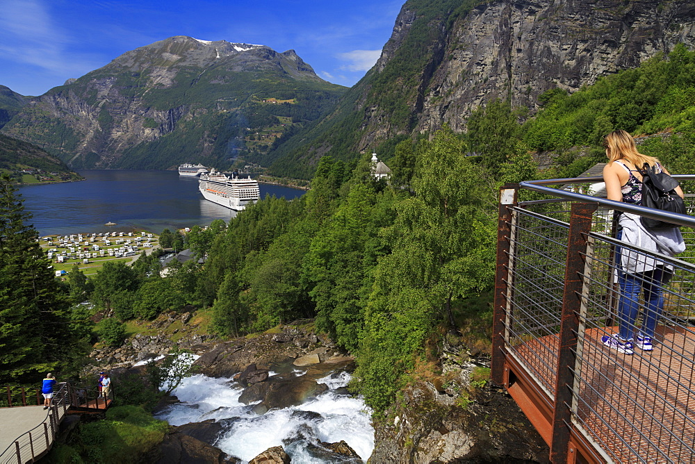 Geirangelva River viewpoint, Geiranger Village, More og Romsdal County, Norway, Scandinavia, Europe - 776-5447