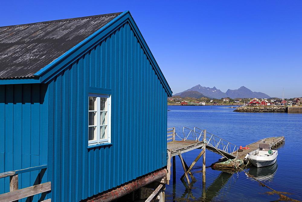 Boathouse, Ballstad Fishing Village, Lofoten Islands, Nordland County, Arctic, Norway, Scandinavia, Europe