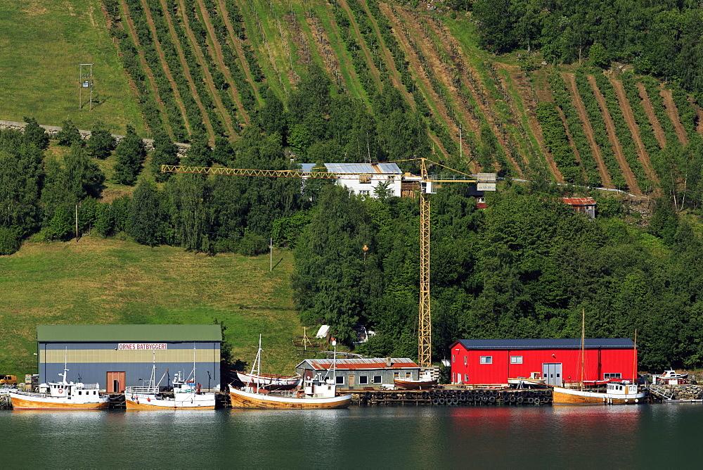 Boatyard, Urnes Village, Lustrafjorden, Sogn og Fjordane County, Norway, Scandinavia, Europe