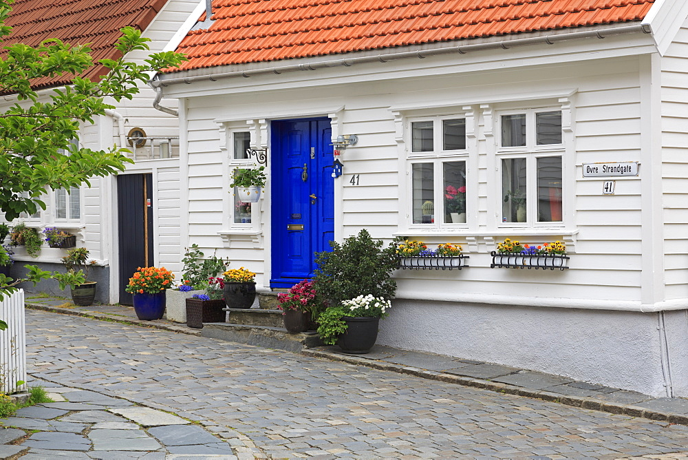 Blue door, Gamle (Old Town) District, Stavanger City, Ragoland County, Norway - 776-5481