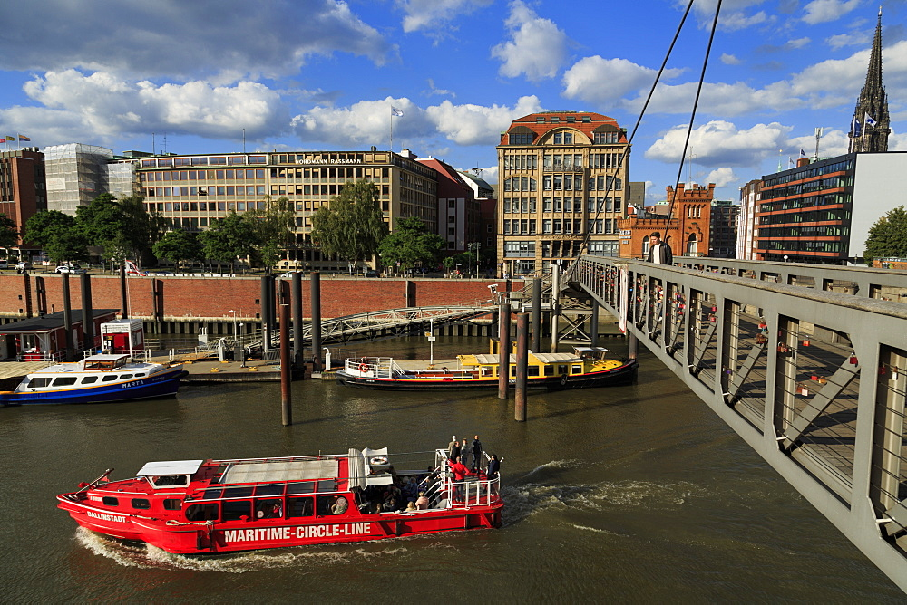 Fubganger Bridge, HafenCity, Hamburg, Germany, Europe