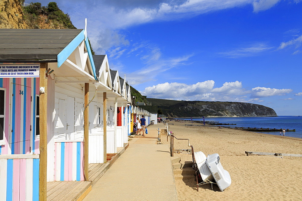 Beach huts, Swanage Town, Isle of Purbeck, Dorset, England, United Kingdom, Europe - 776-5557