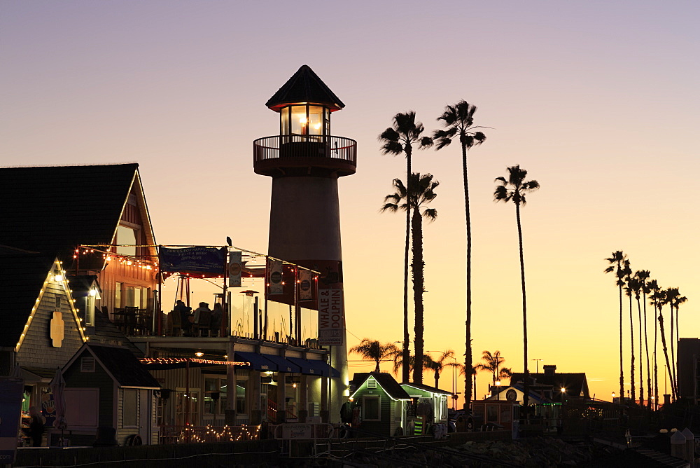 Oceanside Harbour Village at sunset, San Diego County, California, United States of America