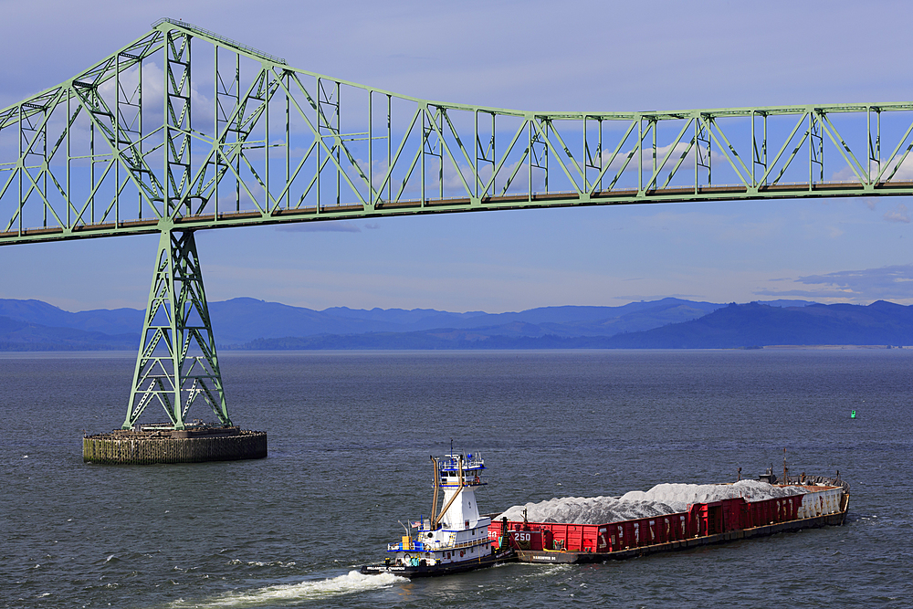 Astoria Bridge and Barge, Astoria, Oregon, United States of America, North America
