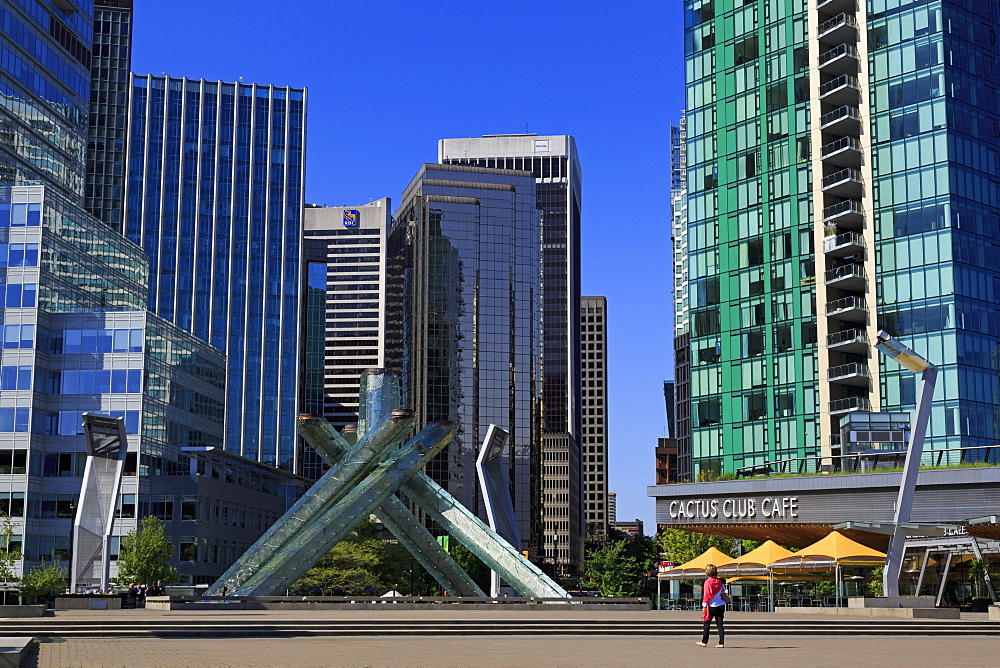 Olympic Cauldron, Jack Poole Plaza, Convention Centre West, Vancouver City, British Columbia, Canada, North America