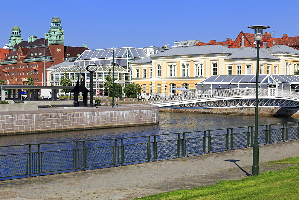 Bagers Plaza and canal, Malmo, Skane County, Sweden, Scandinavia, Europe