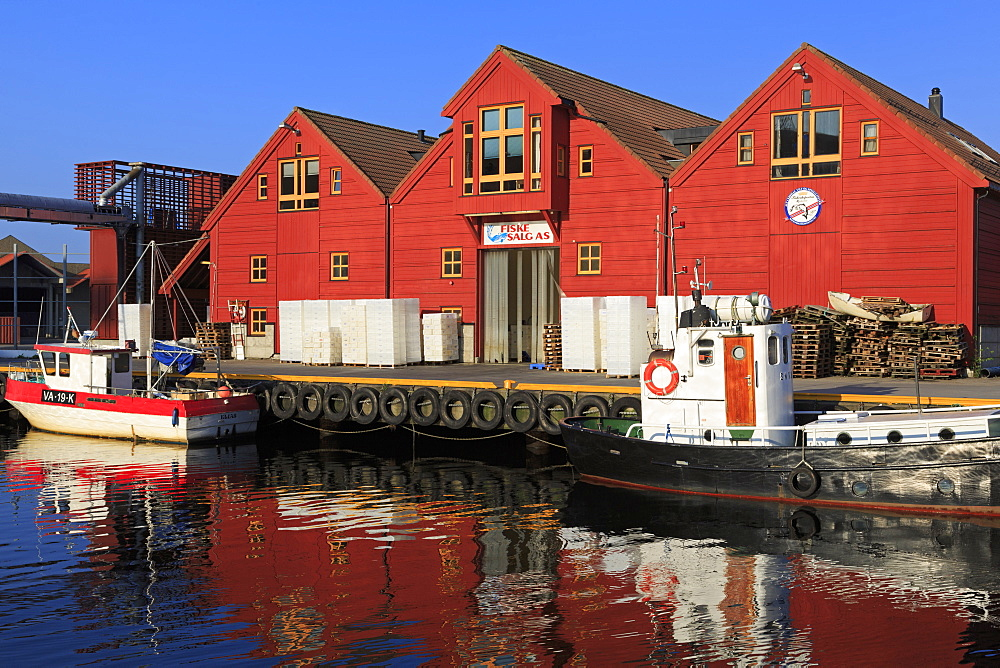 Fishing boats at the Fish Market, Kristiansand, Norway, Europe