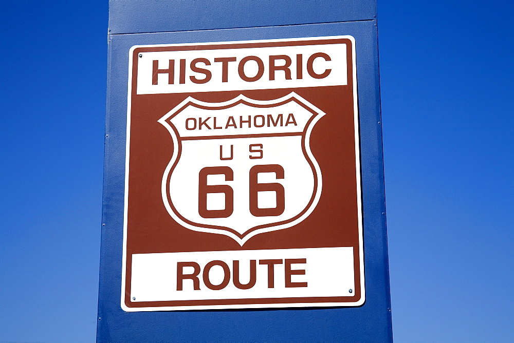 Sign on Historic Route 66, Downtown Tulsa, Oklahoma, United States of America, North America