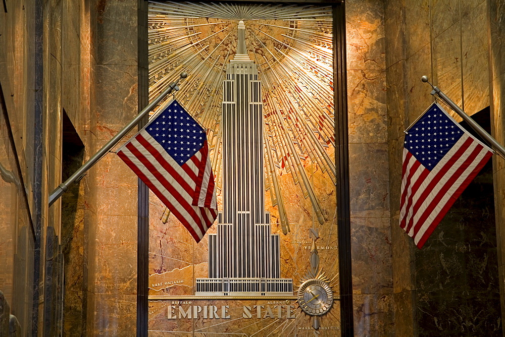 Wall detail of Empire State Building lobby, Midtown Manhattan, New York City, New York, United States of America, North America - 776-659