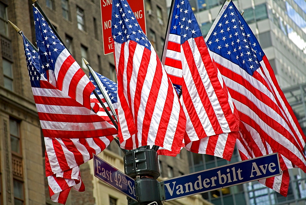 American flags outside Grand Central Station, Midtown Manhattan, New York City, New York, United States of America, North America - 776-691