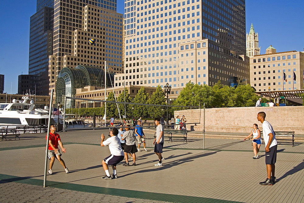 Volley ball court, World Financial Center, Lower Manhattan, New York City, New York, United States of America, North America