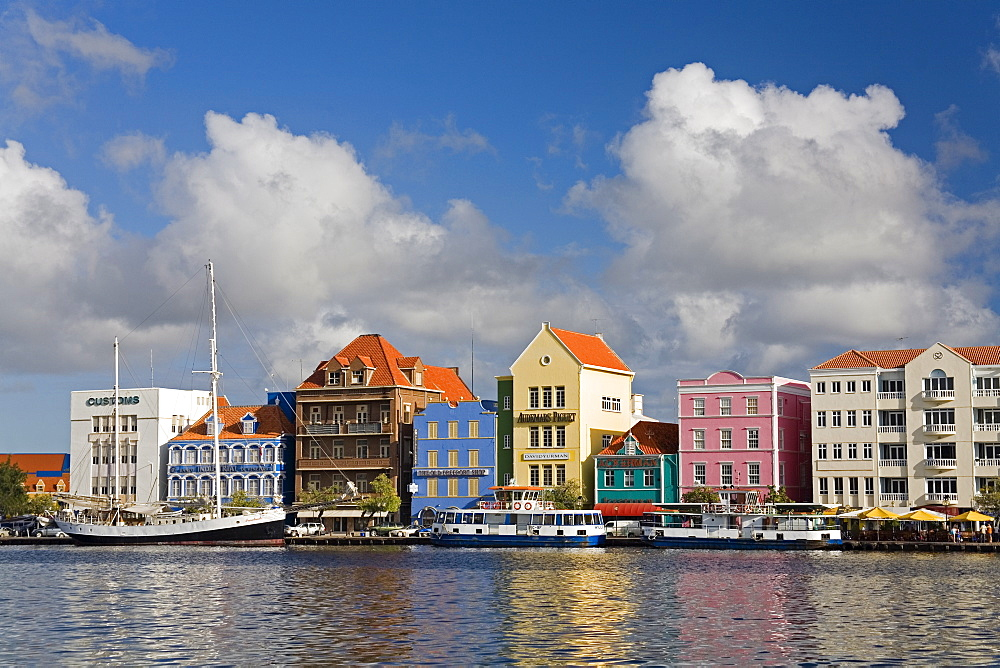 Stores on Handelskade, Punda District, Willemstad, UNESCO World Heritage Site, Curacao, Netherlands Antilles, West Indies, Caribbean, Central America