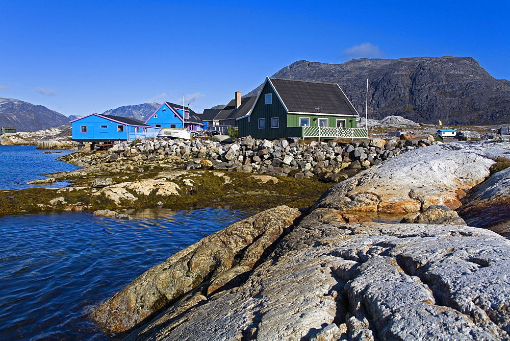 Colorful houses, Port of Nanortalik, Island of Qoornoq, Province of Kitaa, Southern Greenland, Kingdom of Denmark, Polar Regions