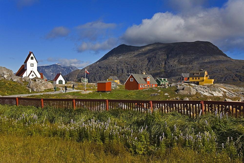 Port of Nanortalik church, Island of Qoornoq, Province of Kitaa, Southern Greenland, Kingdom of Denmark, Polar Regions