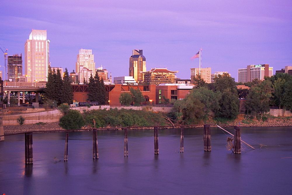 River and skyline, Sacramento, California, United States of America, North America