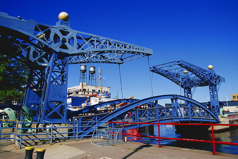 Slip drawbridge, Canal Park, Duluth, Minnesota, United States of America, North America