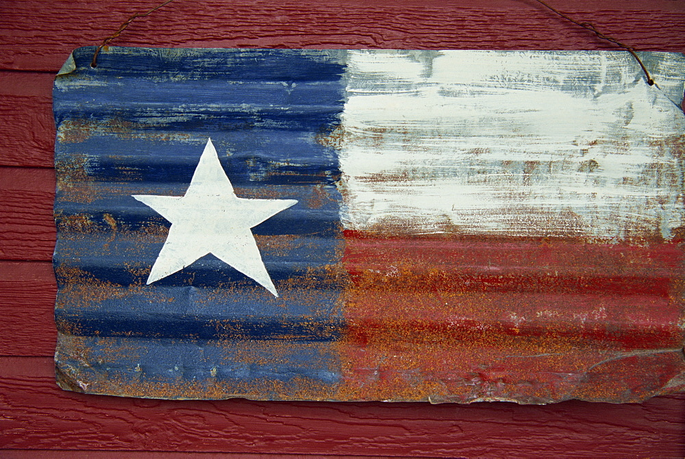 Texas flag in metal, Downtown Lampass, Hill Country area, Austin, Texas, United States of America, North America