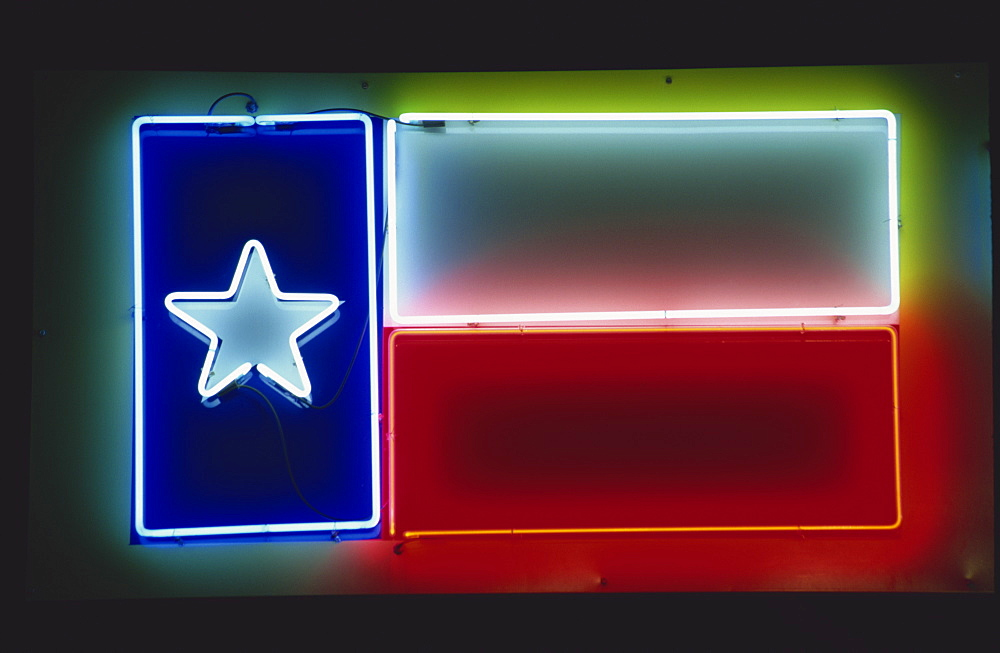 Texan flag in neon, city of Austin, Texas, United States of America, North America