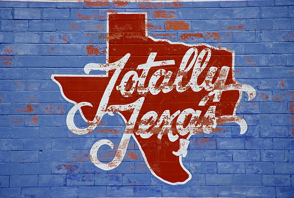 Old mural of Texas, Austin, Texas, United States of America, North America