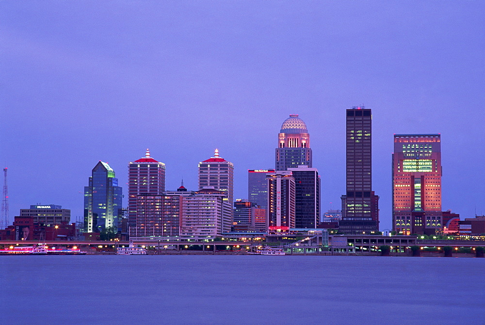 City skyline and Ohio River, Louisville, Kentucky, United States of America, North America
