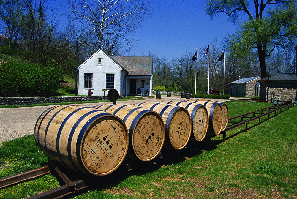 Bourbon whiskey barrels, Woodford Reserve Distillery, Lexington, Kentucky, United States of America, North America
