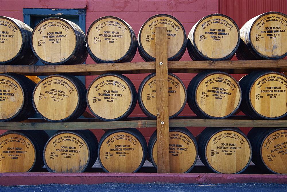 Whiskey barrels, Buffalo Trace Distillery, Frankfort, Kentucky, United States of America, North America