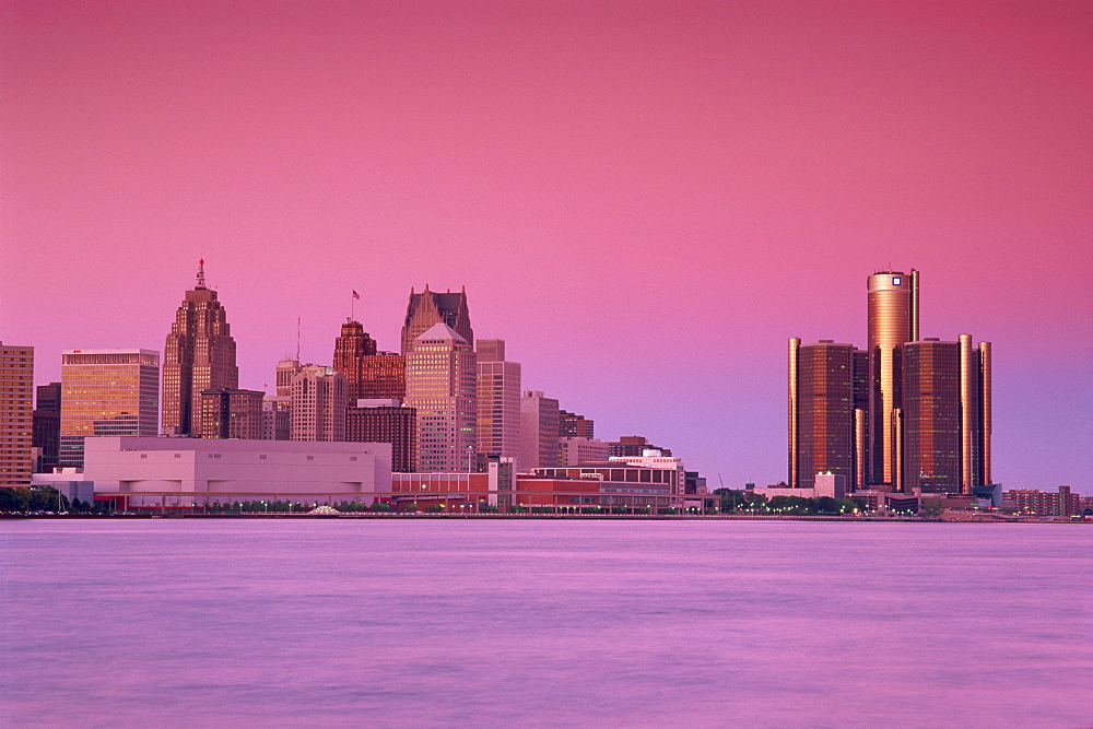 Detroit viewed from Dieppe Park, Windsor City, Ontario, Canada, North America