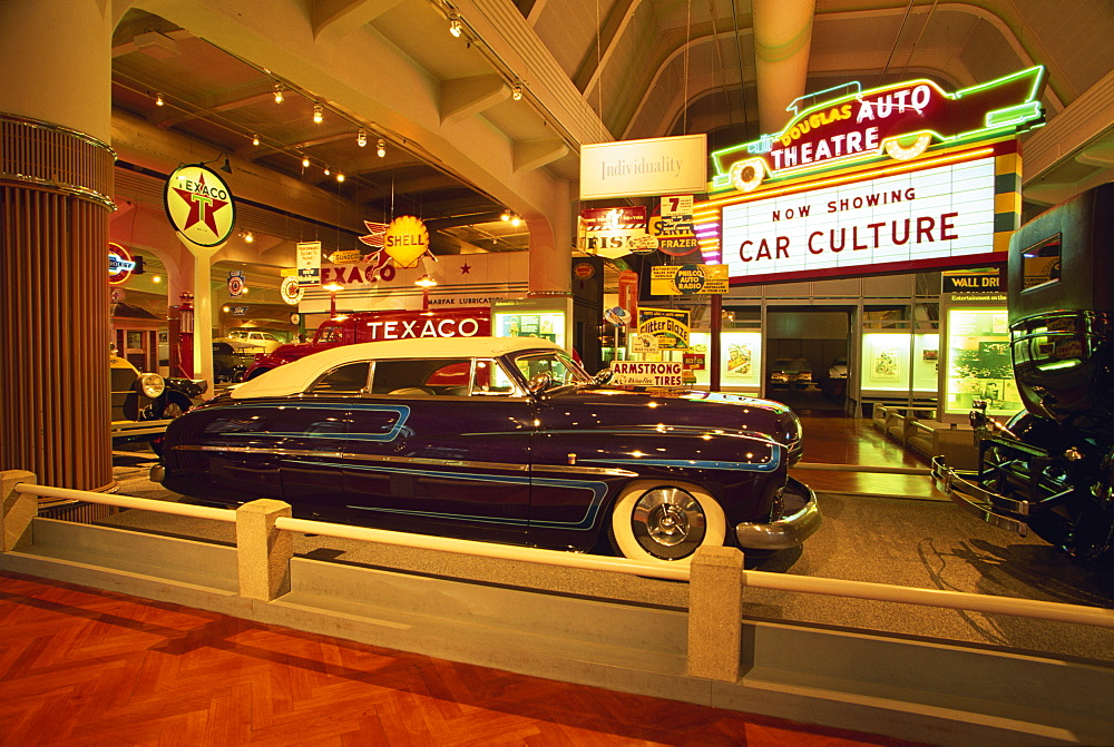 Car culture display, Henry Ford Museum, Dearborn area, Detroit, Michigan, United States of America, North America