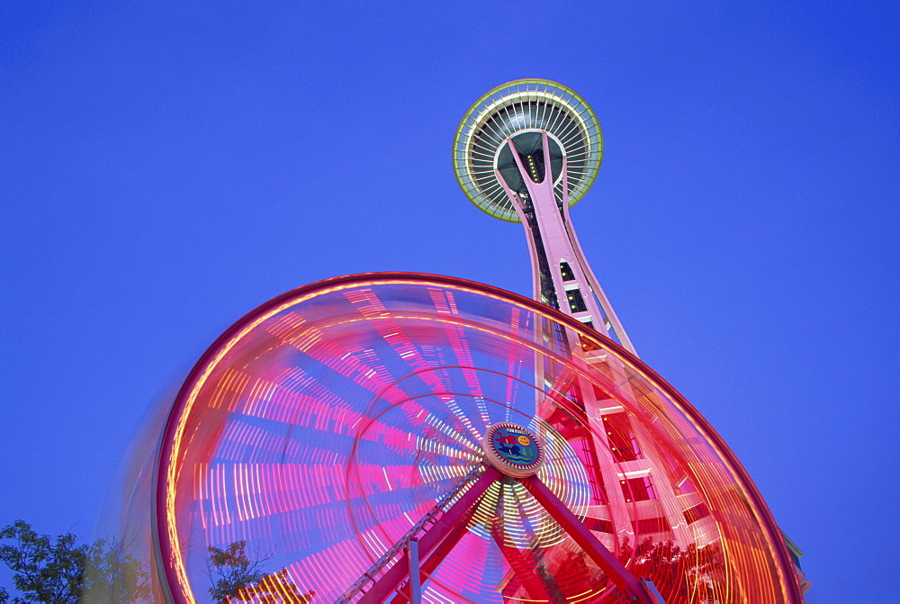 Ferris wheel and Space Needle, Seattle Center, Seattle, Washington state, United States of America, North America