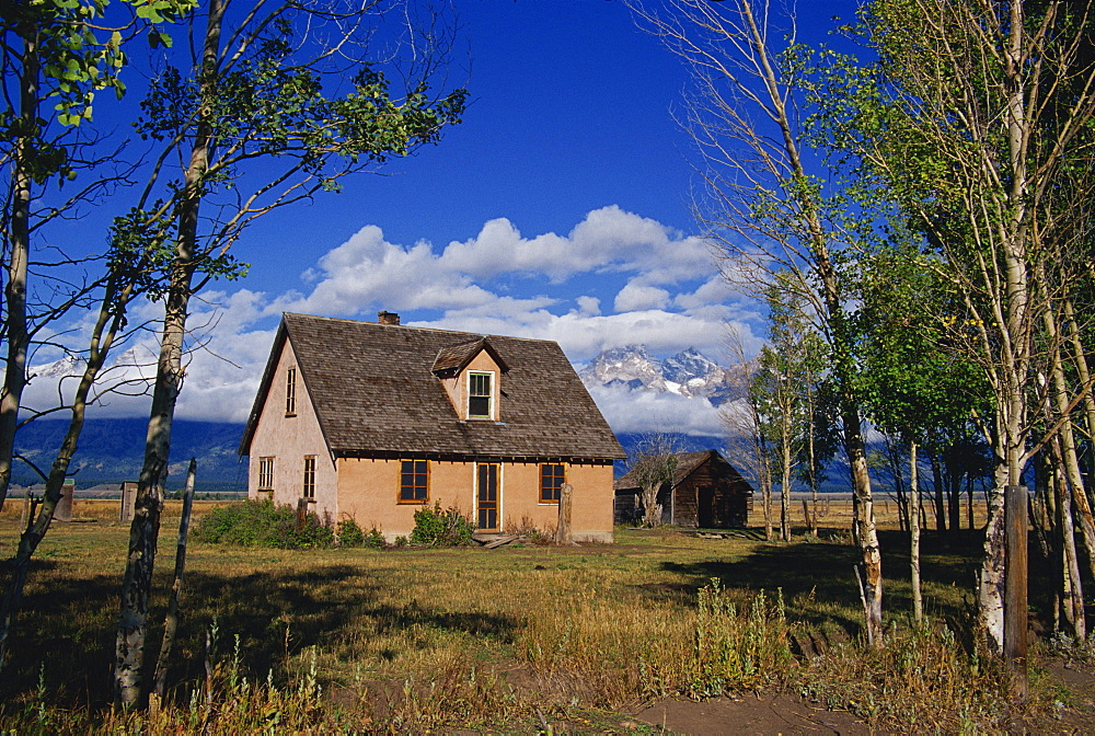 Mormon Row farm, Grand Teton National Park, Wyoming, United States of America, North America
