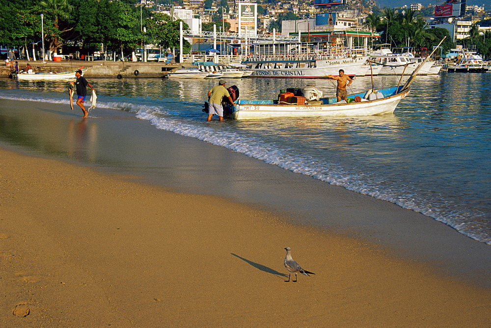 Fishing boat on beach, Old Town, Acapulco, Guerrero State, Mexico, North America