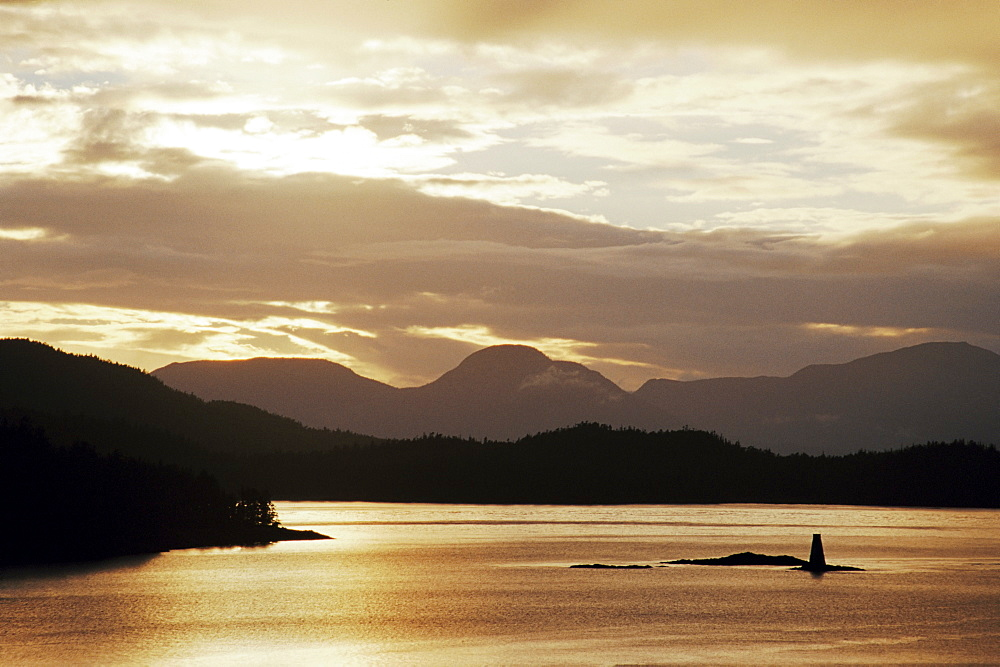 Sunset, Tongass Narrows, Ketchikan, Alaska, United States of America, North America