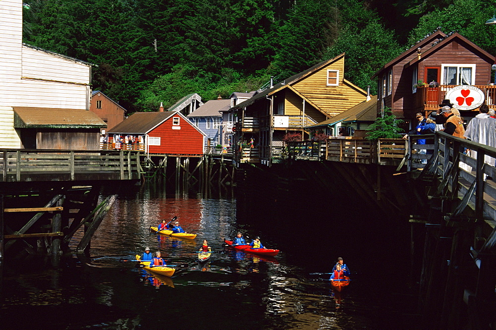 Kayaking, Creek Street, Ketchikan, Alaska, United States of America, North America
