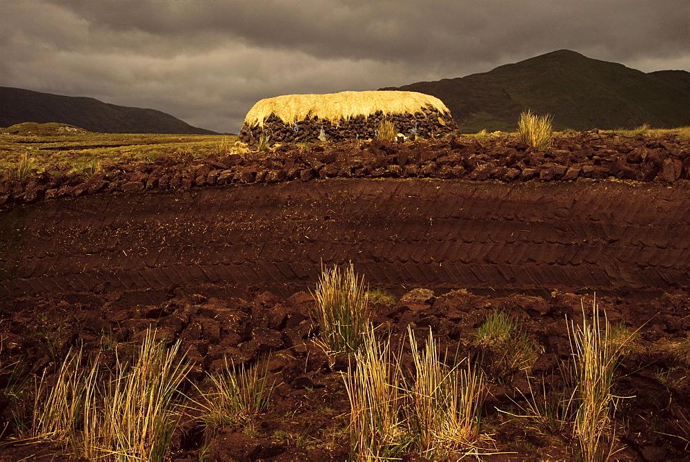 Bogland and turf row, Lettershanbally Bog, Leenane, County Mayo, Connacht, Republic of Ireland, Europe