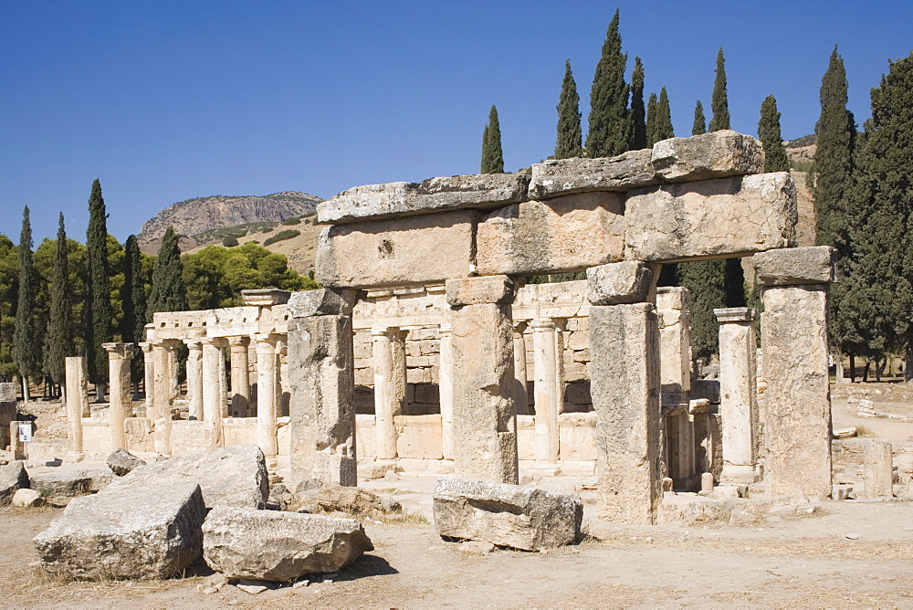 Agora, archaeological site of Hierapolis, Pamukkale, UNESCO World Heritage Site, Anatolia, Turkey, Asia Minor, Eurasia - 783-101