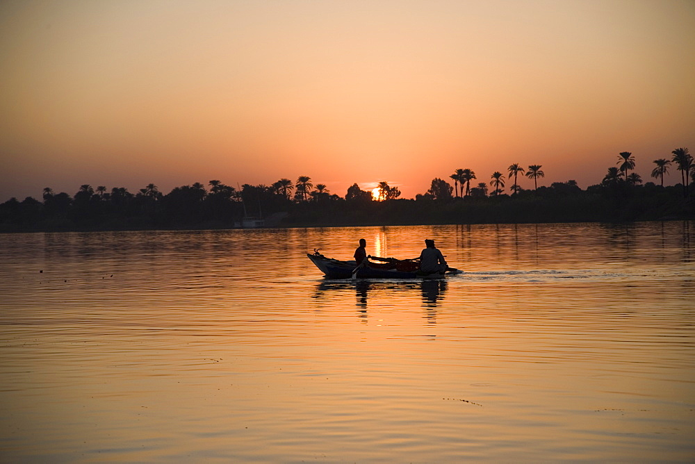 Fishing boat, sunset, River Nile, Egypt, North Africa, Africa - 783-25