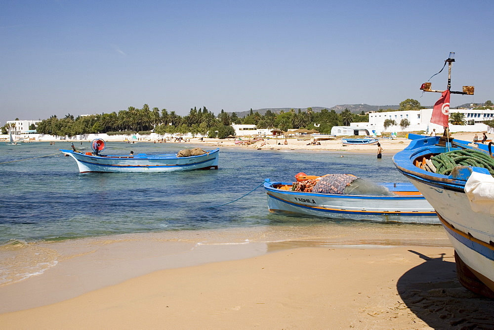 Fishing boats and beach, Hammamet, Tunisia, North Africa, Africa - 783-4