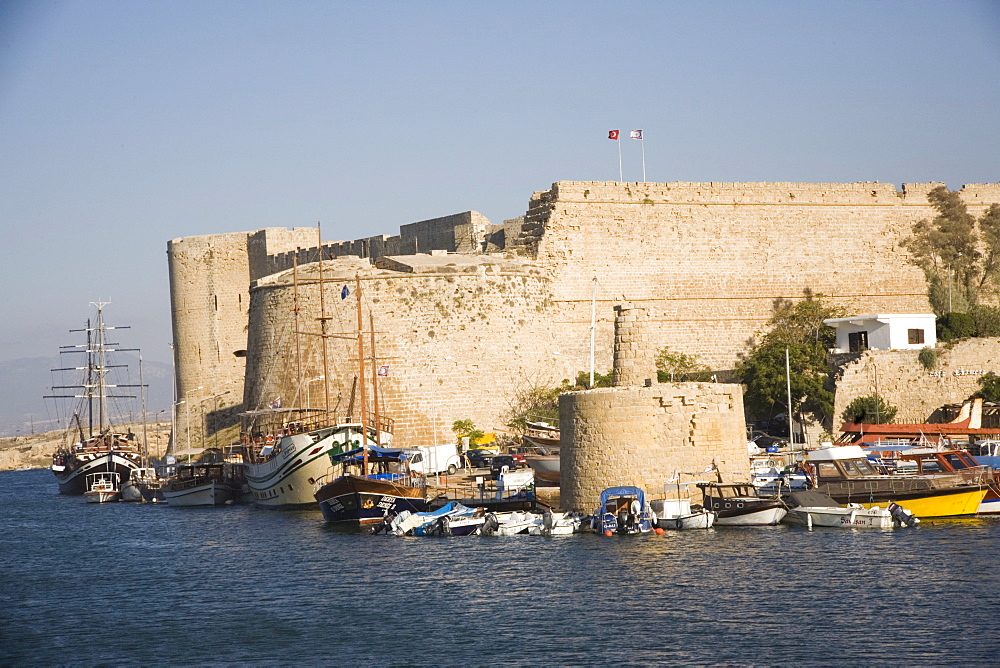 Fort, boats and harbour, Kyrenia, North Cyprus, Mediterranean, Europe - 783-58