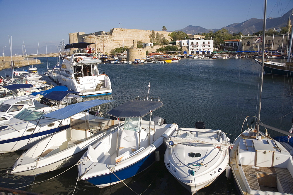Fort, boats and harbour, Kyrenia, North Cyprus, Mediterranean, Europe - 783-59