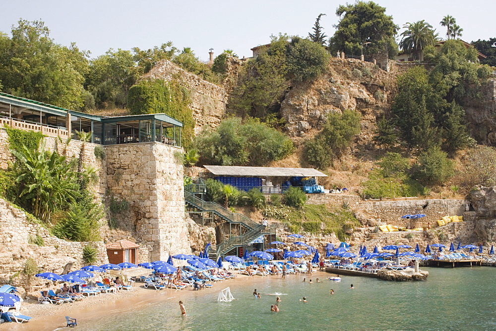 Beach next to Old Harbour, Antalya, Anatolia, Turkey, Asia Minor, Eurasia - 783-69