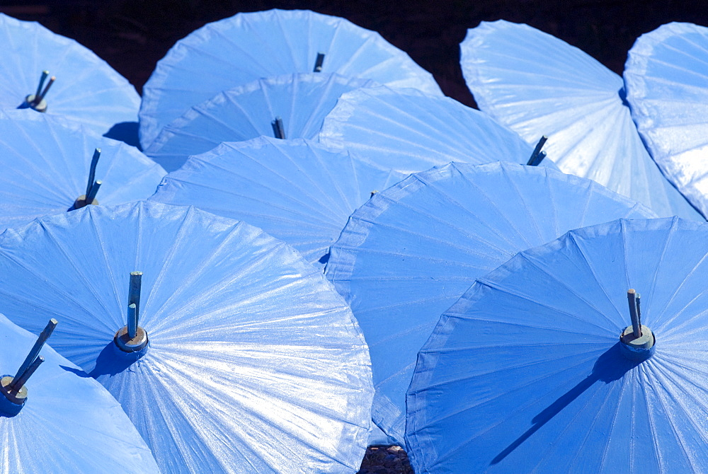 Blue umbrellas drying in the sun, Borsang, Chiang Mai, Thailand, Southeast Asia, Asia - 784-265