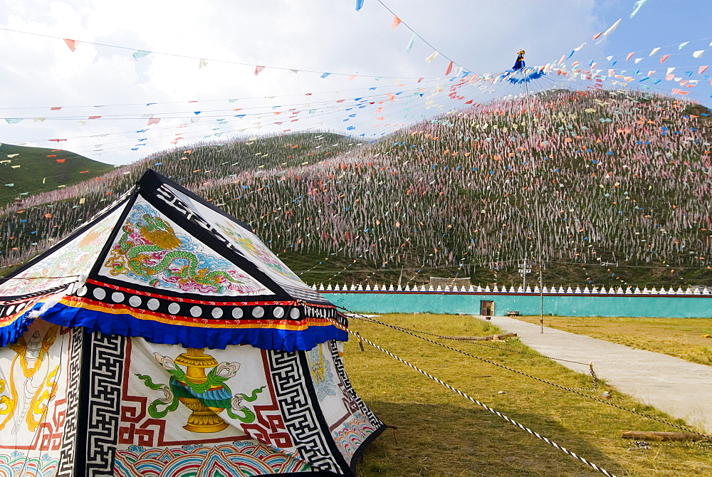 Tent and thousands of prayer flags, Tagong Grasslands, Sichuan, China, Asia - 784-36