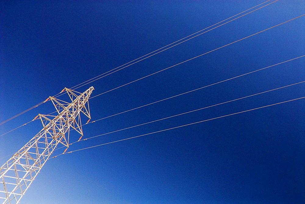 Electricity pylon against blue sky, Dunhuang, Gansu, China, Asia - 784-51